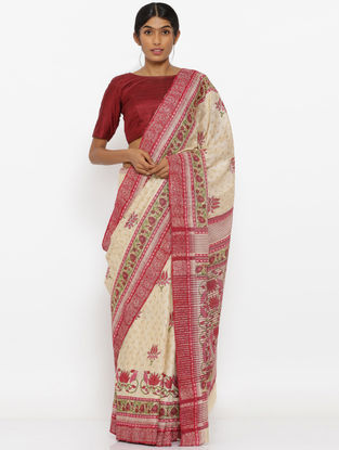 Beige-Red Printed Tussar Silk Saree