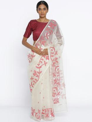Ivory-Red Jamdani Muslin Silk Saree