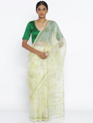 Ivory-Green Printed Organza Saree