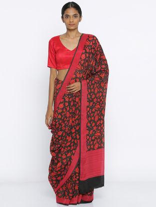 Black-Red Printed Crepe Saree