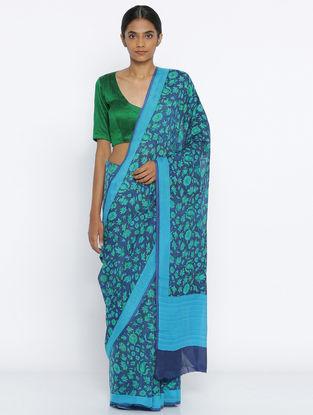 Blue-Green Printed Crepe Saree
