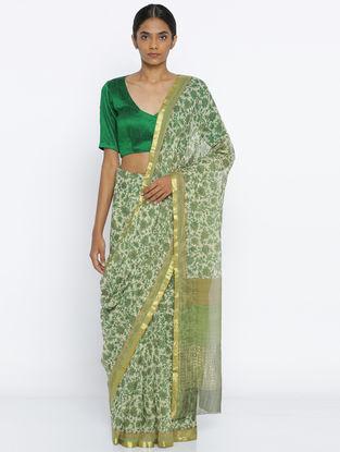Ivory-Green Printed Chiffon Saree with Zari