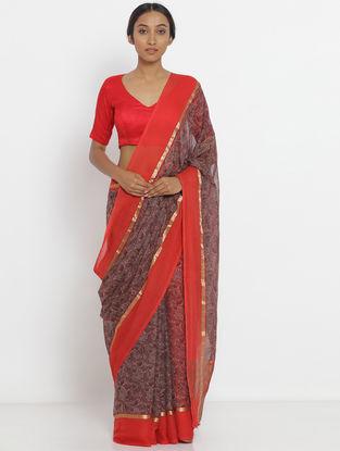 Maroon-Red Printed Chiffon Saree with Zari