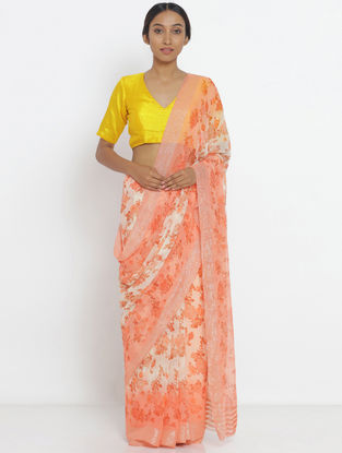 Ivory-Peach Printed Chiffon Saree