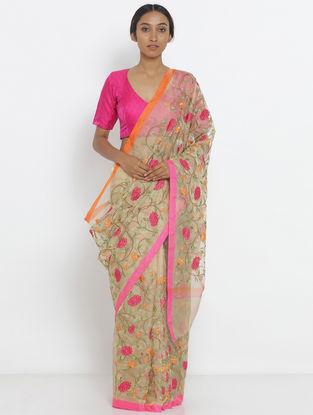 Beige-Pink Embroidered Tissue Saree