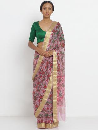 Pink-Green Printed Chiffon Saree with Zari