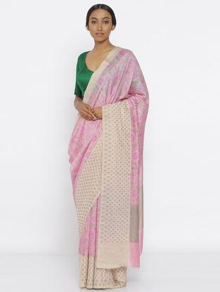 Pink Printed Tussar Silk Saree