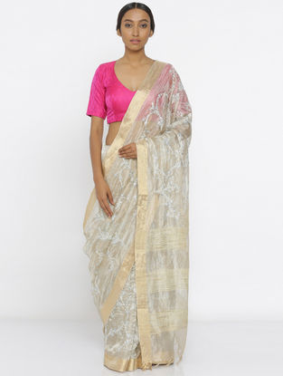 Ivory Embroidered Tissue Saree with Zari