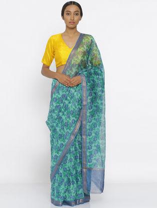 Green-Blue Printed Linen Silk Saree with Zari Border