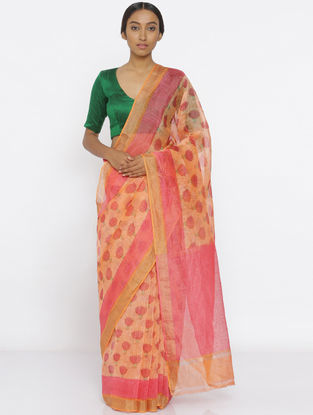 Orange-Pink Printed Linen Silk Saree with Zari Border
