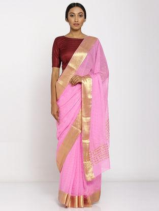 Pink Chiffon Saree with Zari