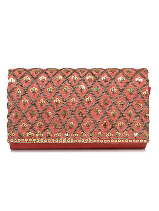 Coral Zari Embroidered Dupion Silk Clutch