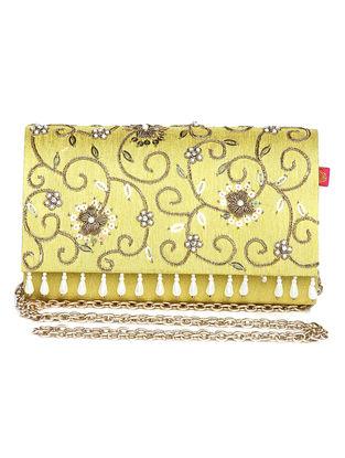Yellow Zari Embroidered Dupion Silk Clutch