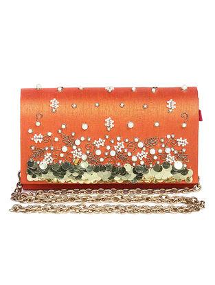 Orange Embroidered Dupion Silk Clutch with Sequins