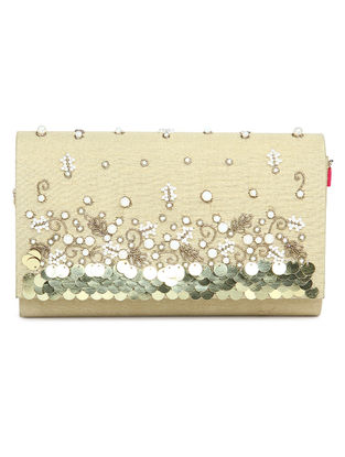 Cream Embroidered Dupion Silk Clutch with Sequins