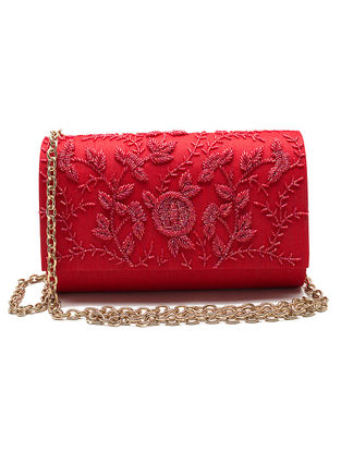 Red Embroidered Dupion Silk Clutch