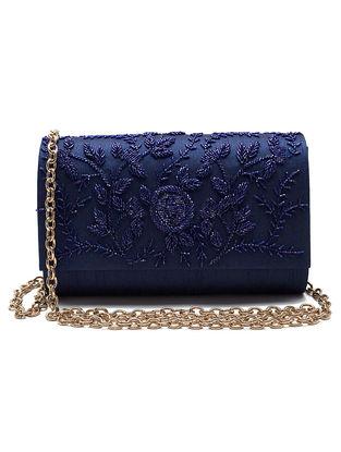 Blue Embroidered Dupion Silk Clutch