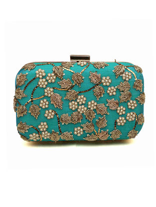 Turquoise Embroidered Dupion Silk Clutch