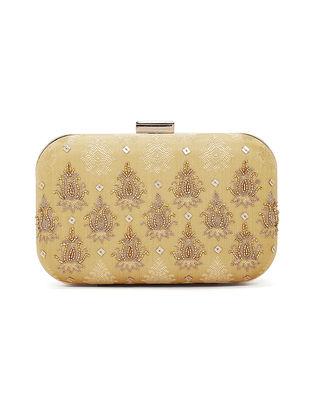 Gold Handcrafted Chanderi Silk Clutch