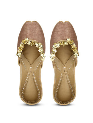 Brown Handcrafted Dupion Silk and Leather Juttis with Sequins