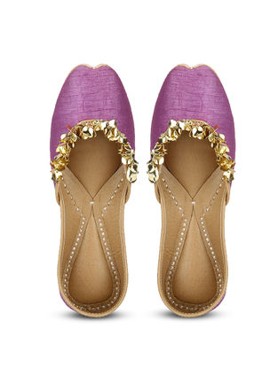 Purple Handcrafted Dupion Silk and Leather Juttis with Sequins