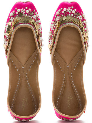 Pink Embroidered Dupion Silk and Leather Juttis with Sequins
