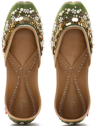 Olive Green Embroidered Dupion Silk and Leather Juttis with Sequins