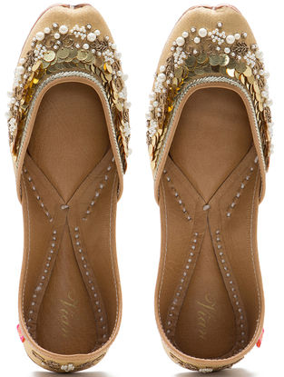 Cream Embroidered Dupion Silk and Leather Juttis with Sequins