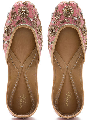 Pink Zardozi Hand-Embroidered Dupion Silk and Leather Juttis