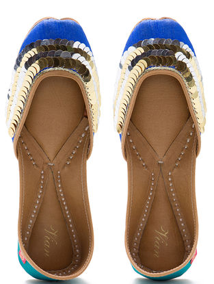 Blue-Green Embroidered Dupion Silk and Leather Juttis with Embellishments