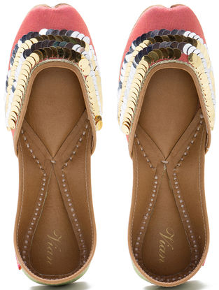 Peach-Green Embroidered Dupion Silk and Leather Juttis with Embellishments
