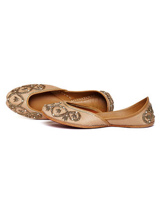 Beige Embroidered Dupion Silk and Leather Juttis