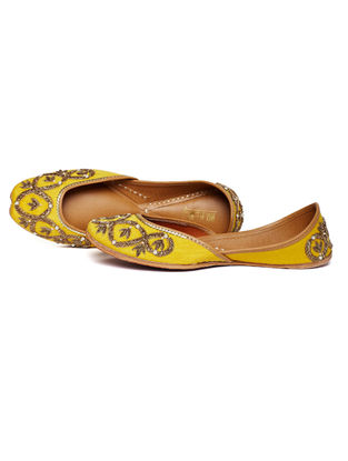 Yellow Embroidered Dupion Silk and Leather Juttis