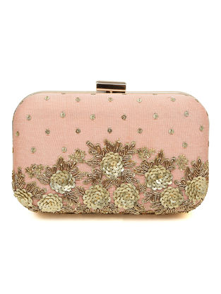 Pink Zardozi-embroidered Silk Clutch with Floral Design