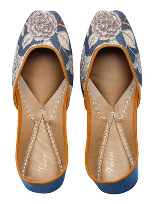 Roshan-E-Ara Hand-embroidered Blue-Multicolored Silk And Leather Juttis