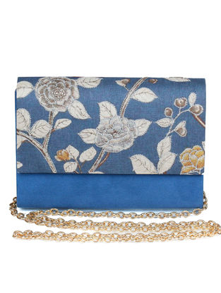 Roshan-E-Ara Hand-embroidered Blue-Multicolored Silk Clutch