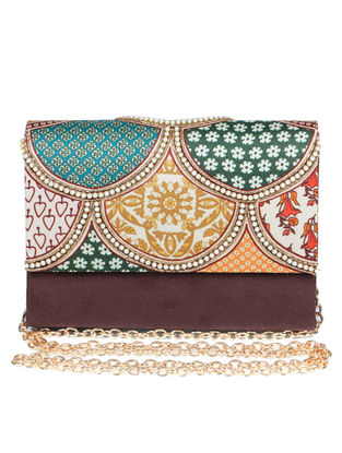 Gul-E-Rehbar Hand-embroidered Brown-Multicolored Silk Clutch