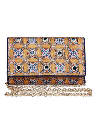Noor-E-Alam Hand-embroidered Mustard-Blue Silk Clutch