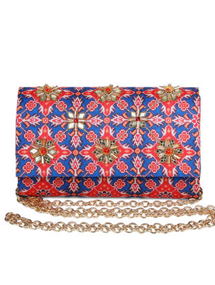 Noor-E-Bahaar Hand-embroidered Red-Blue Silk Clutch