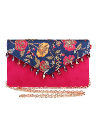 Gul-E-Ashrafi Hand-embroidered Navy-Pink Silk Clutch