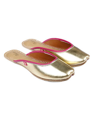 Golden-Pink Handcrafted Leather Juttis