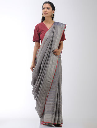 Grey-Blue Linen Saree with Zari Border