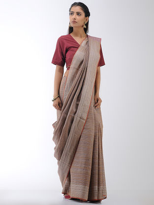Brown-Pink Linen Saree with Zari Border