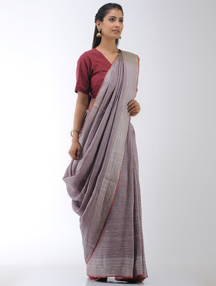 Purple-Brown Linen Saree with Zari Border
