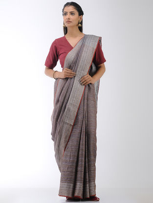 Brown Linen Saree with Zari Border