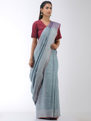 Blue-Purple Linen Saree with Zari Border