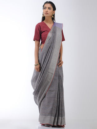 Grey-Purple Linen Saree with Zari Border