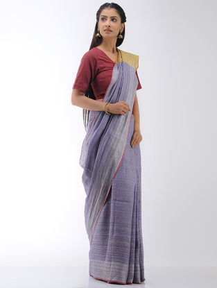 Purple-Yellow Linen Saree with Zari Border