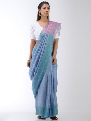 Blue-Pink Linen Saree