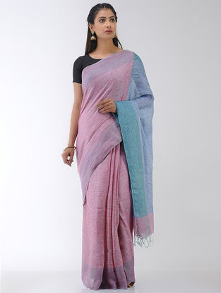 Pink-Blue Linen Saree